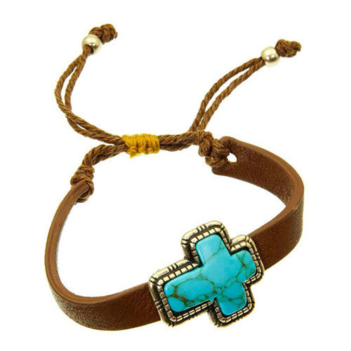 December Birthstone Turquoise and Coral Bead Cross Leather Bracelet