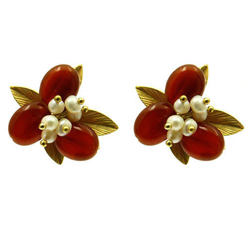 June Birthstone Freshwater Pearl and Gemstone Flower Earring Studs