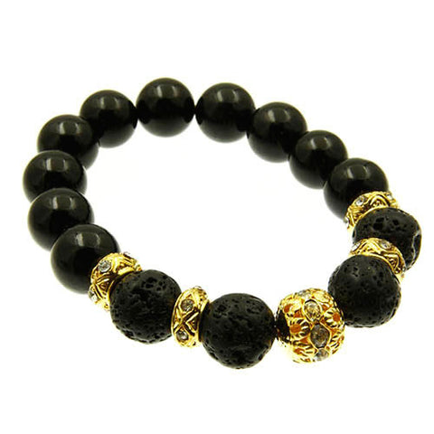 Natural Gemstone Black and Crystal Charm Bead Stretch Bracelet
