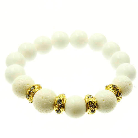 Natural Gemstone White and Crystal Charm Bead Stretch Bracelet