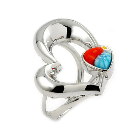 925 Sterling Silver and Millefiori Open Heart High Polish Chunky Ring