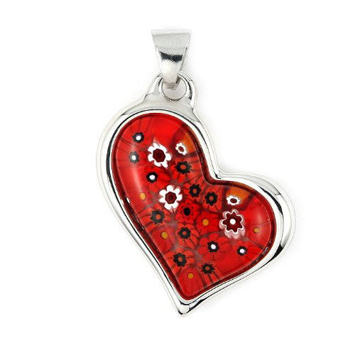 925 Sterling Silver and Red Millefiori Curved Heart Pendant Necklace