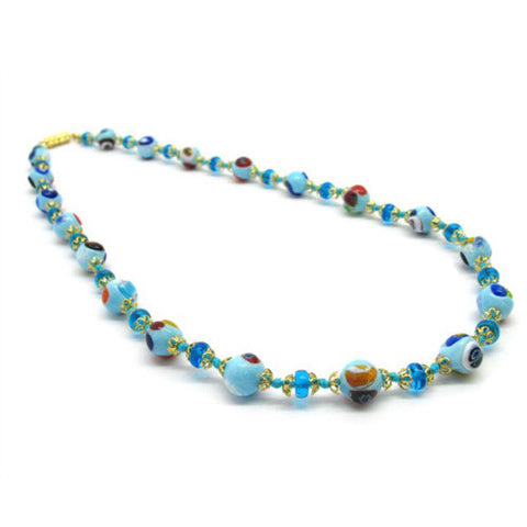 Venetian Murano Glass Baby Blue Long Bead Necklace