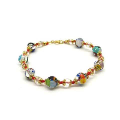 Venetian Murano Glass Transparent Bead Bracelet