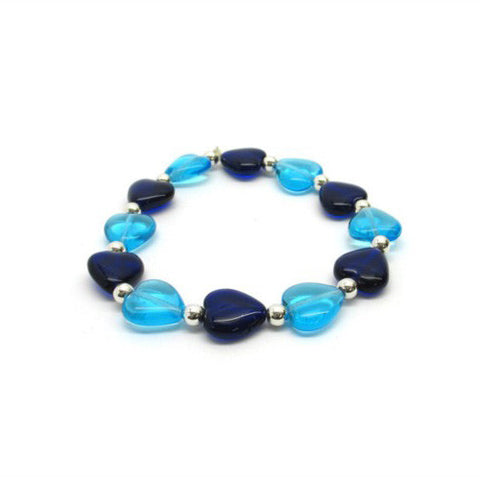 Venetian Murano Glass Blue Heart Bead Bracelet