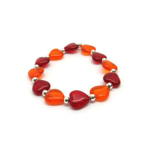 Venetian Murano Glass Red Heart Bead Bracelet