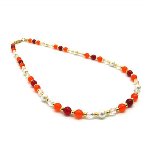 Venetian Murano Glass Mixed Red Round Bead Necklace