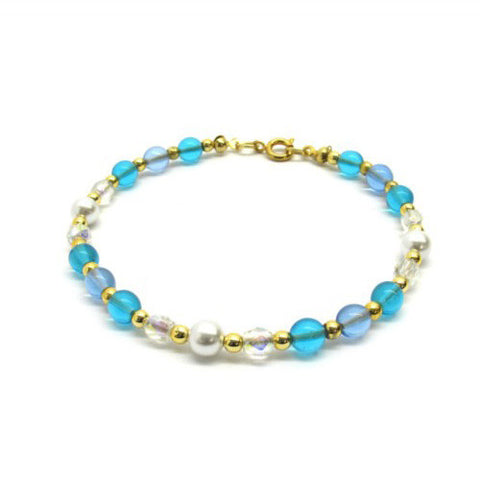 Venetian Murano Glass Light Blue Round Bead Bracelet