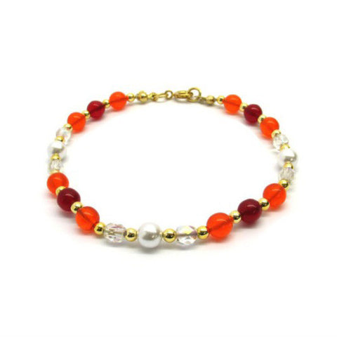 Venetian Murano Glass Mixed Red Round Bead Bracelet