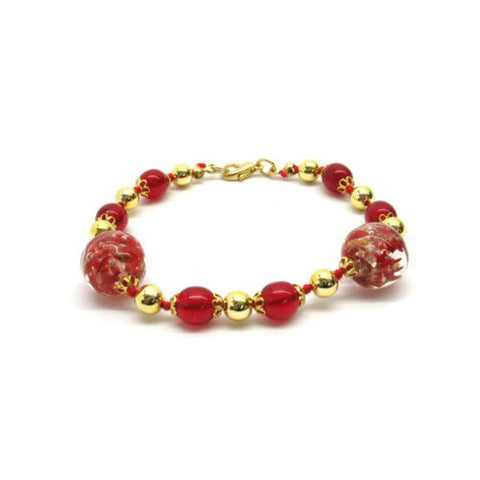 Venetian Murano Glass Large Round Red Bead Bracelet