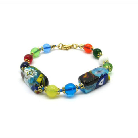 Venetian Murano Glass Large Multicolour Square Bead Bracelet