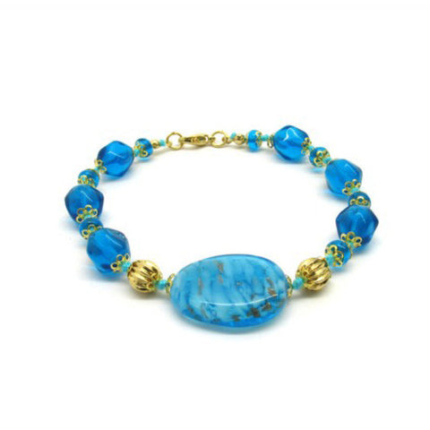 Venetian Murano Glass Blue and Gold Large Bead Bracelet