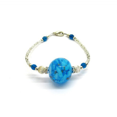 Venetian Murano Glass Bright Blue and Silver Ball Pendant Bracelet