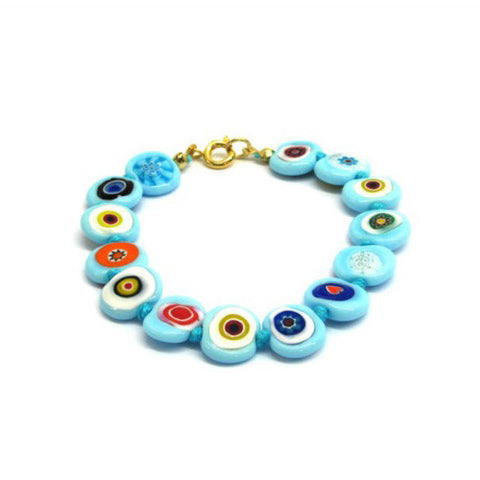 Venetian Murano Glass Blue and Multicolour Flat Bead Bracelet