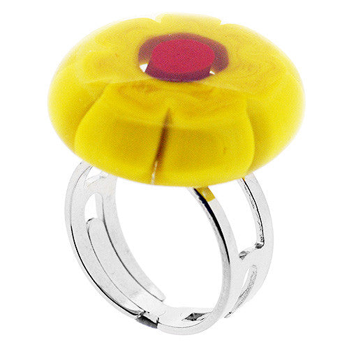 Venetian Murano Glass Red and Yellow Flower Adjustable Ring