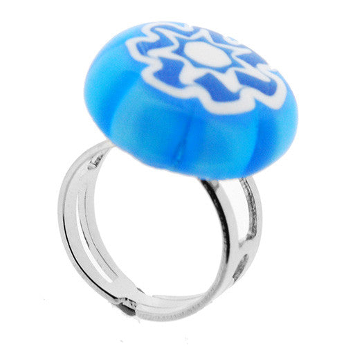 Venetian Murano Glass Turquoise and White Flower Adjustable Ring