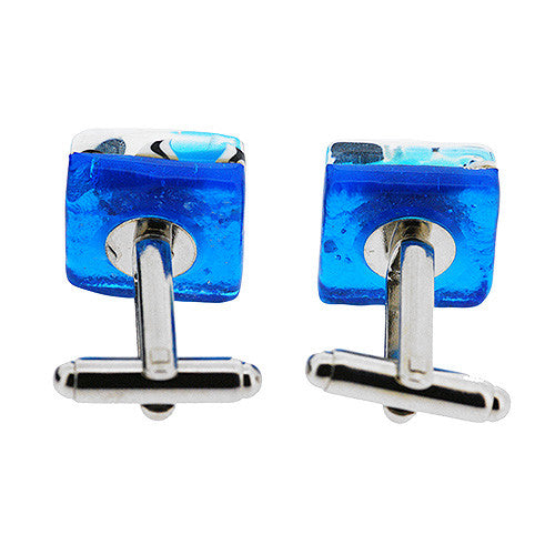 Venetian Murano Glass Silver and Blue Square Cufflinks
