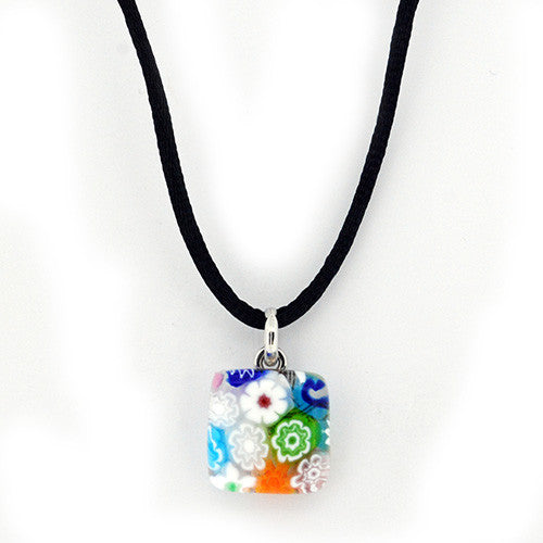 Venetian Murano Glass Millefiori Wildflower Square Pendant Necklace