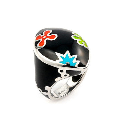 Chunky Designo Black Marquise Ring in 925 Sterling Silver