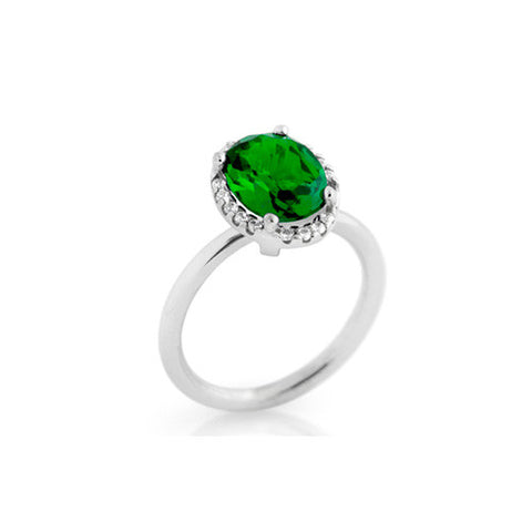 925 Sterling Silver Emerald and White Cubic Zirconia Ring