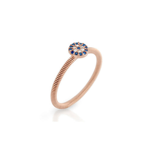 Rose Gold and Sterling Silver Blue Stackable Ring