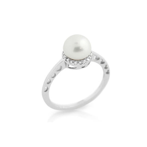 925 Sterling Silver and Freshwater Pearl Sparkling Ring