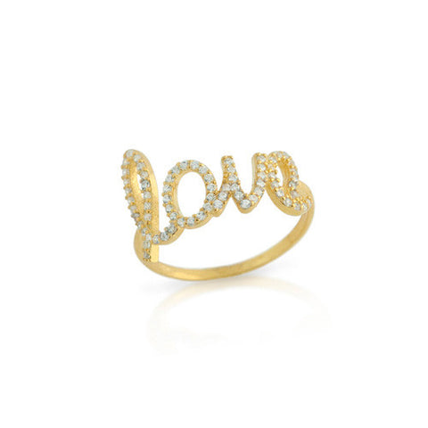 925 Sterling Silver and Gold Plated Cubic Zirconia Love Ring