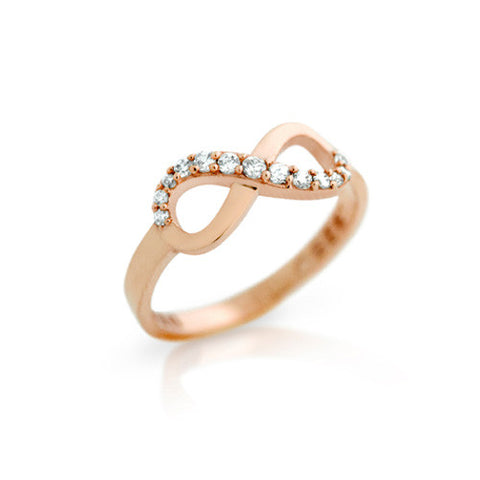 925 Sterling Silver Rose Gold Plated Cubic Zirconia Infinity Ring