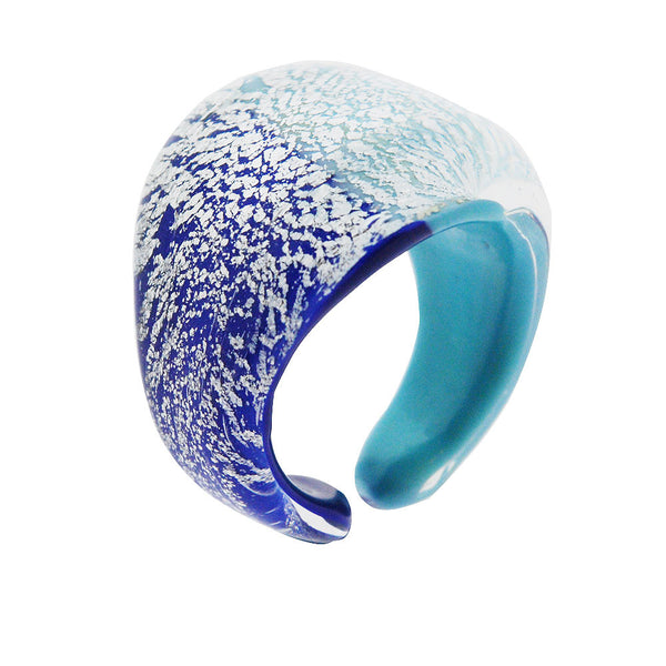 Venetian Murano Blue and Turquoise 925 Sterling Silver Foil Ring