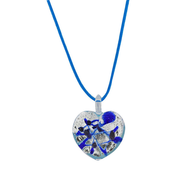 Venetian Murano Glass Silver and Blue Chunky Heart Necklace