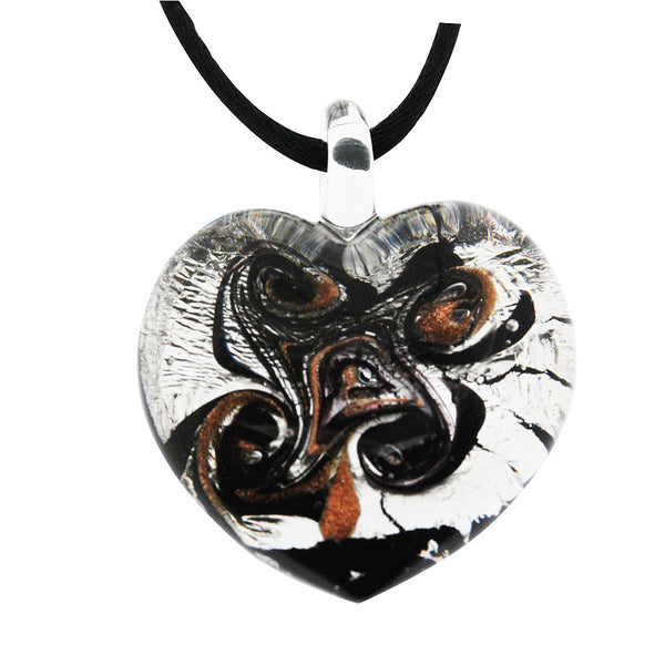 Venetian Murano Glass Silver and Black Chunky Heart Necklace