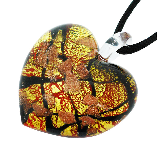 Venetian Murano Glass Scarlet Gold and Black Chunky Heart Necklace