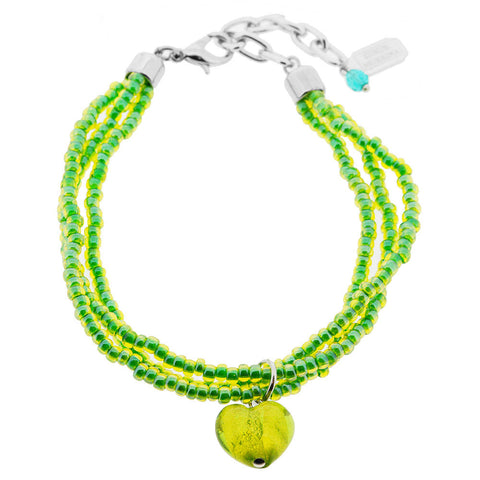 Venetian Murano Glass Green Heart and Seed Bead Bracelet