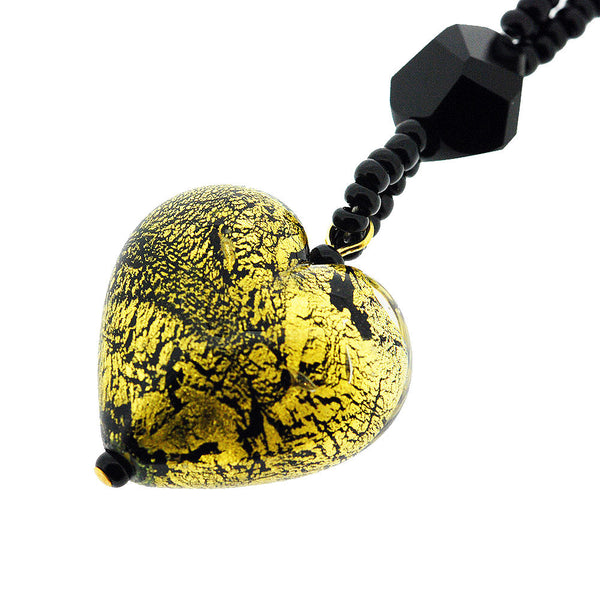 Venetian Murano Glass Signature Black and Gold Love Heart Necklace
