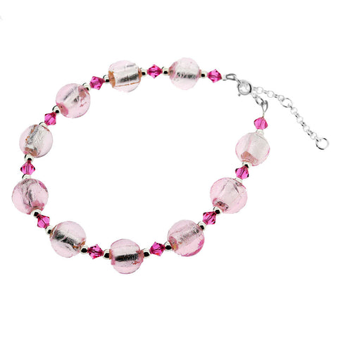 Sterling Silver Murano Pink Round Bead and Crystal Bracelet