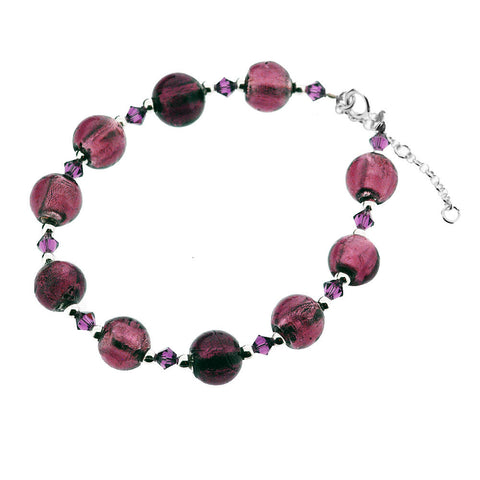 Sterling Silver Murano Amethyst Round Bead and Crystal Bracelet