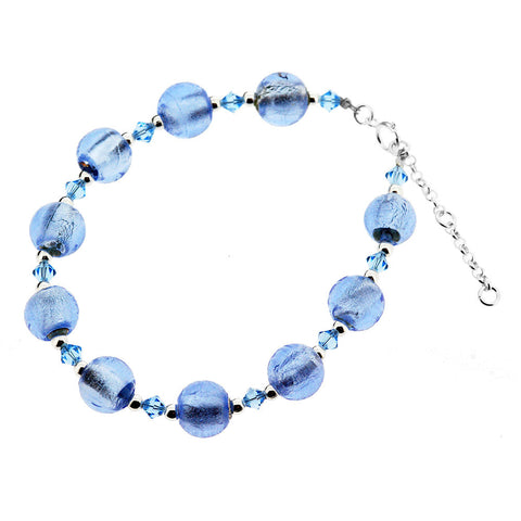 Sterling Silver Murano Sky Blue Round Bead and Crystal Bracelet
