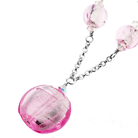 Sterling Silver Murano Pink Round Bead and Crystal Necklace