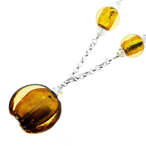 Sterling Silver Murano Amber Round Bead and Crystal Necklace