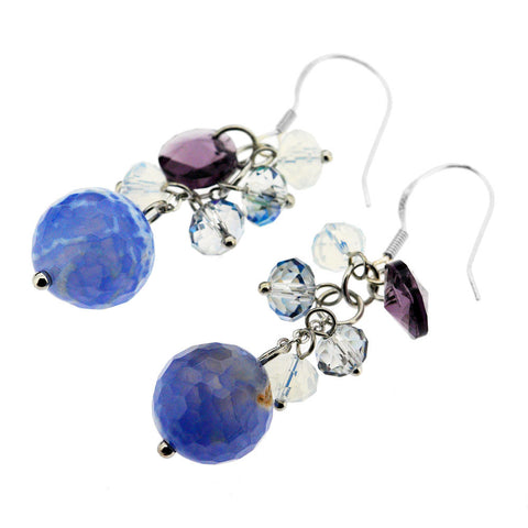 Sterling Silver Semi Precious Agate Crystal Beaded Earrings