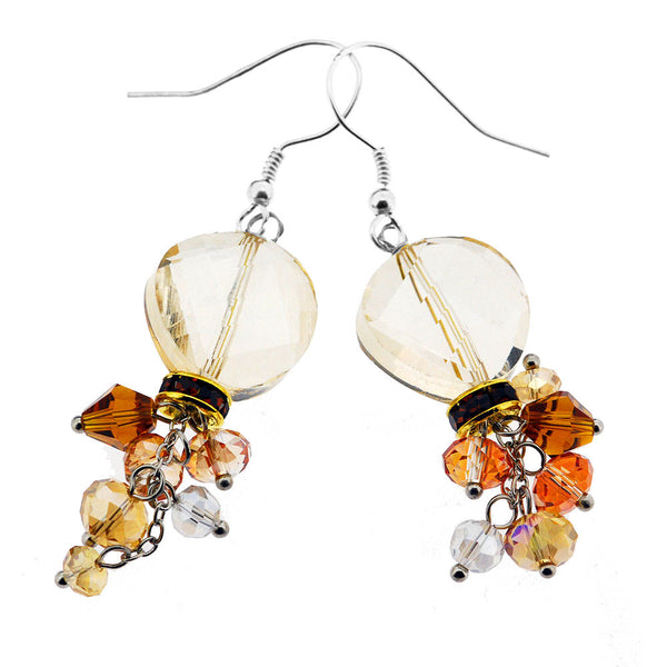 Sterling Silver Amber Crystal Beaded Dangle Earrings