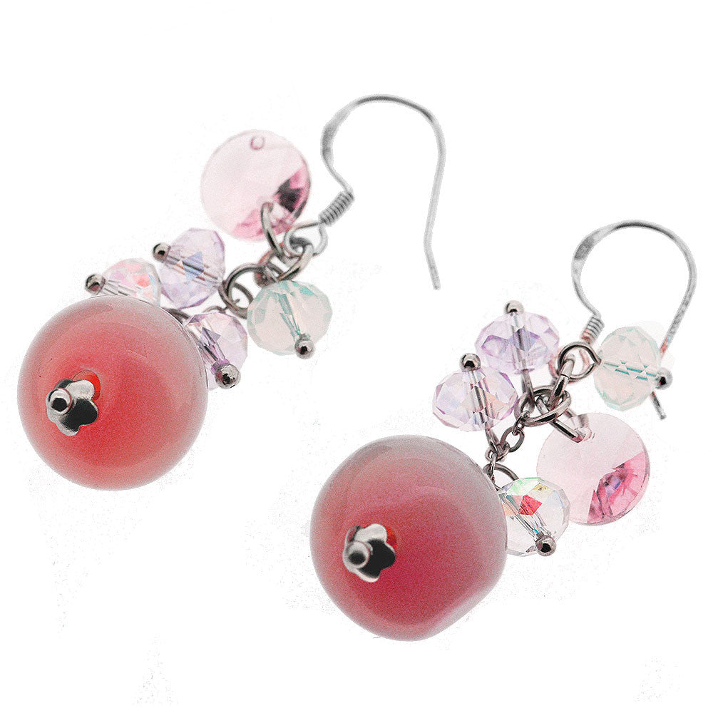 Sterling Silver Pink Jade Crystal Beaded Dangle Earrings