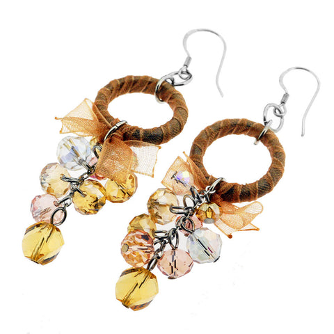 Sterling Silver Amber and Pink Crystal Beaded Dangle Earrings