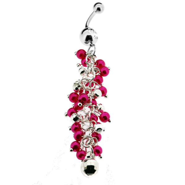 Ornate Pink and Crystal Dangle Gemstone Navel Ring