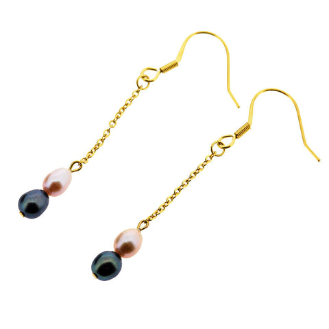 June Birthstone Gold Freshwater Pearl Dangle Earrings