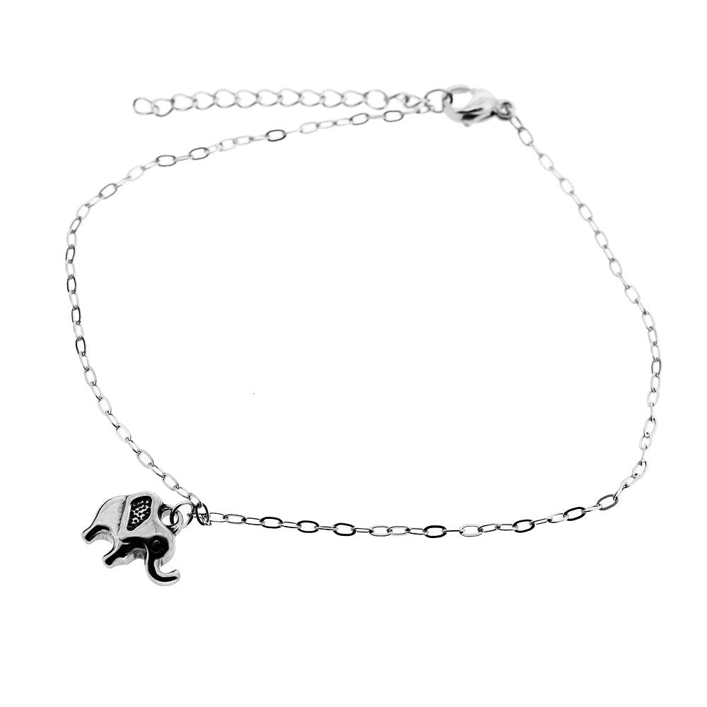 Little Elephant High Polish Adjustable Anklet