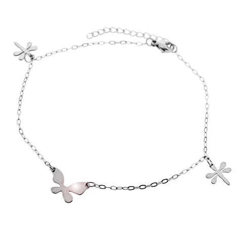 Dragonflies and Butterfly High Polish Adjustable Anklet