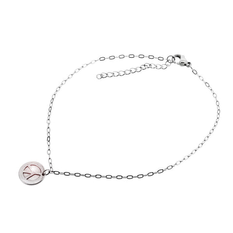 Peace Symbol High Polish Adjustable Anklet