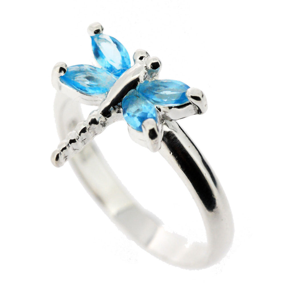 Sterling Silver Blue Crystal Dragonfly Ring