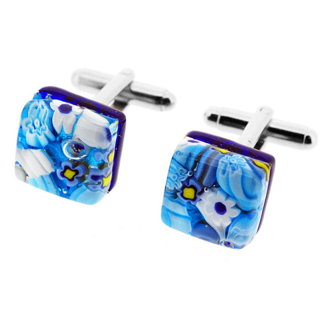 Venetian Murano Glass Blue Floral Square Cufflinks
